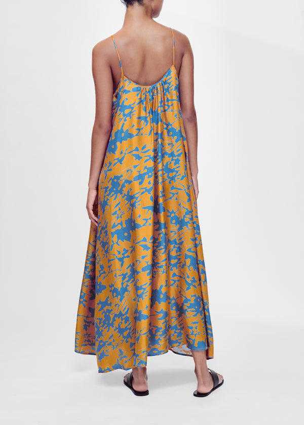 Caramel printed silk twill maxi dress