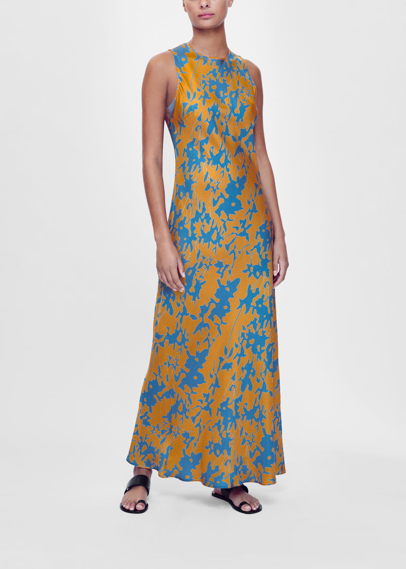 Caramel printed bias cut silk slip dress