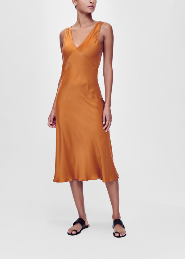 Caramel midi bias cut silk slip dress
