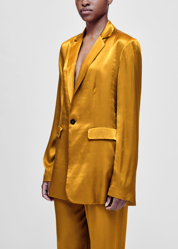 Gold bamboo satin tailored blazer
