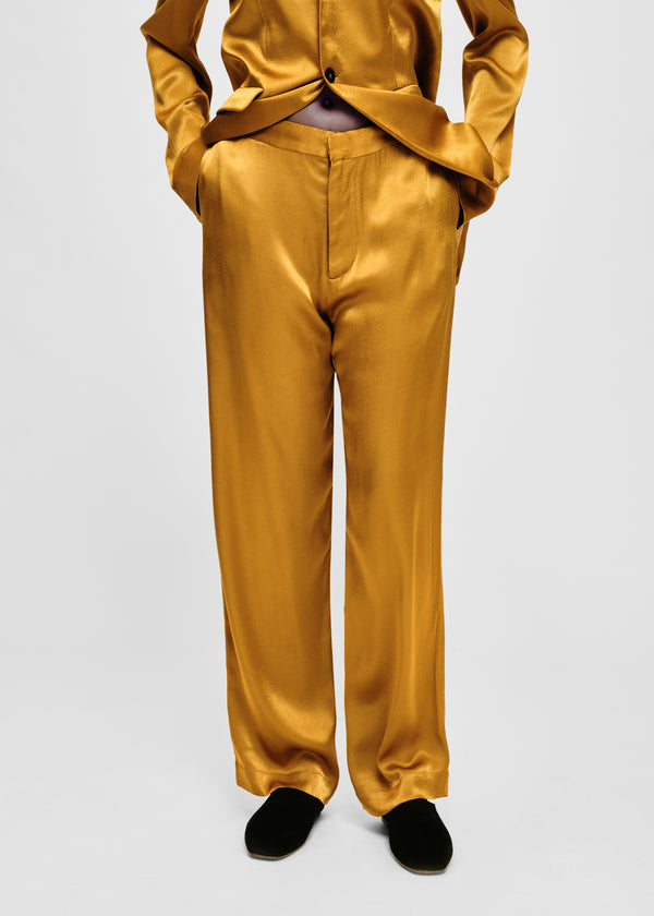 Gold bamboo satin tailored trouser