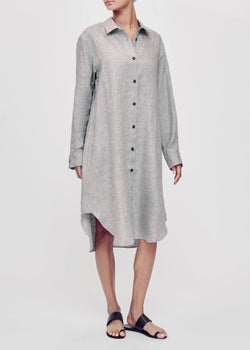 Grey oversized linen shirt dress