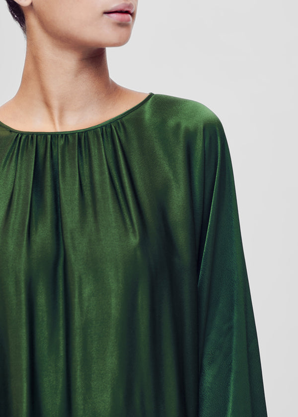 Green bamboo silk maxi dress