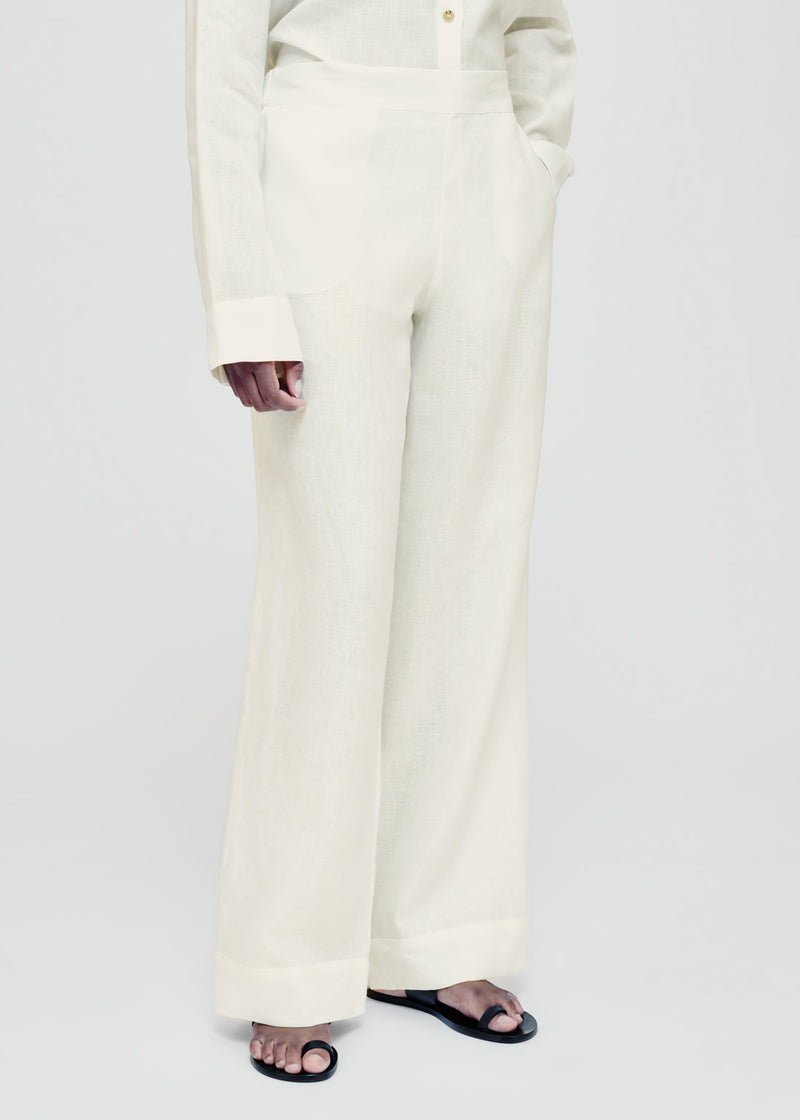 London Lemon Linen Pyjama Trouser