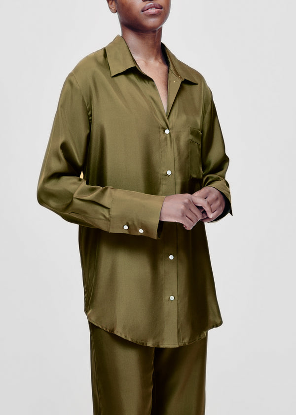 Milan Olive Silk Twill Oversized Shirt