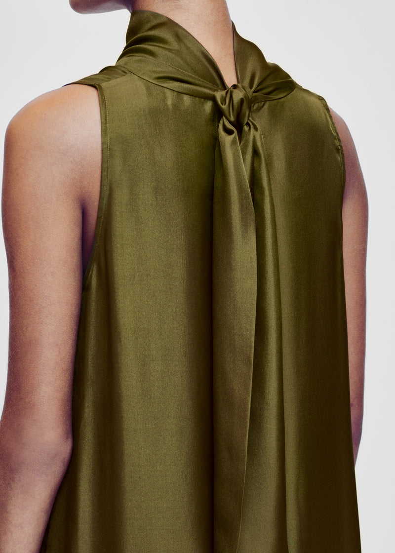 Oslo Olive Silk Twill Maxi Dress