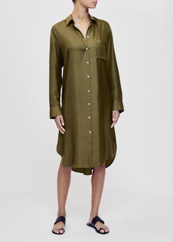 Oxford Olive Silk Twill Shirt Dress