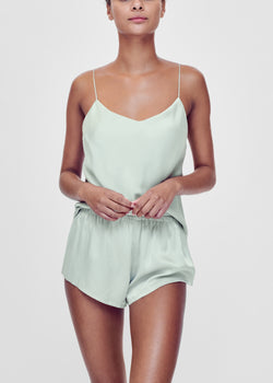 Mint green bias silk camisole