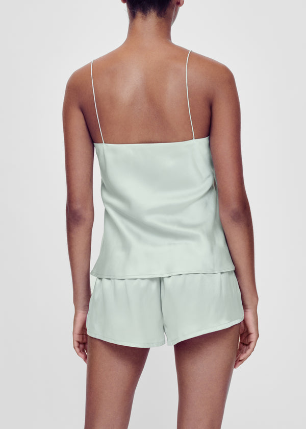 Mint green silk pyjama shorts