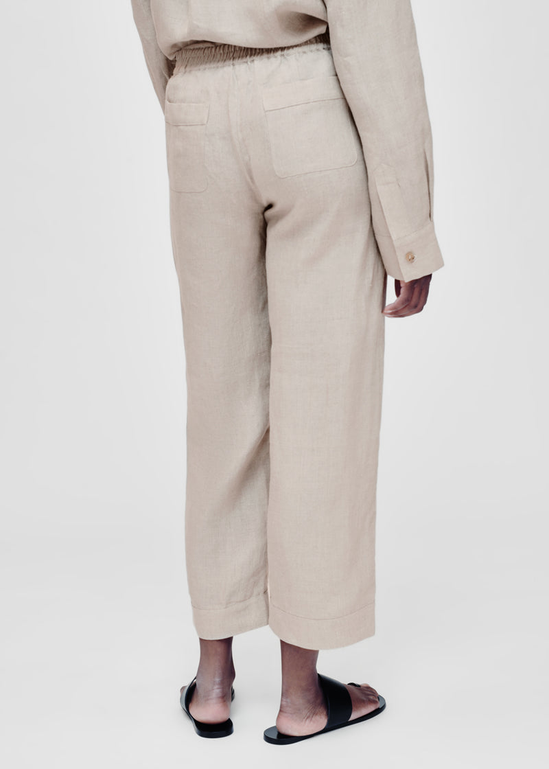 Antibes Oat Linen Cropped Trouser