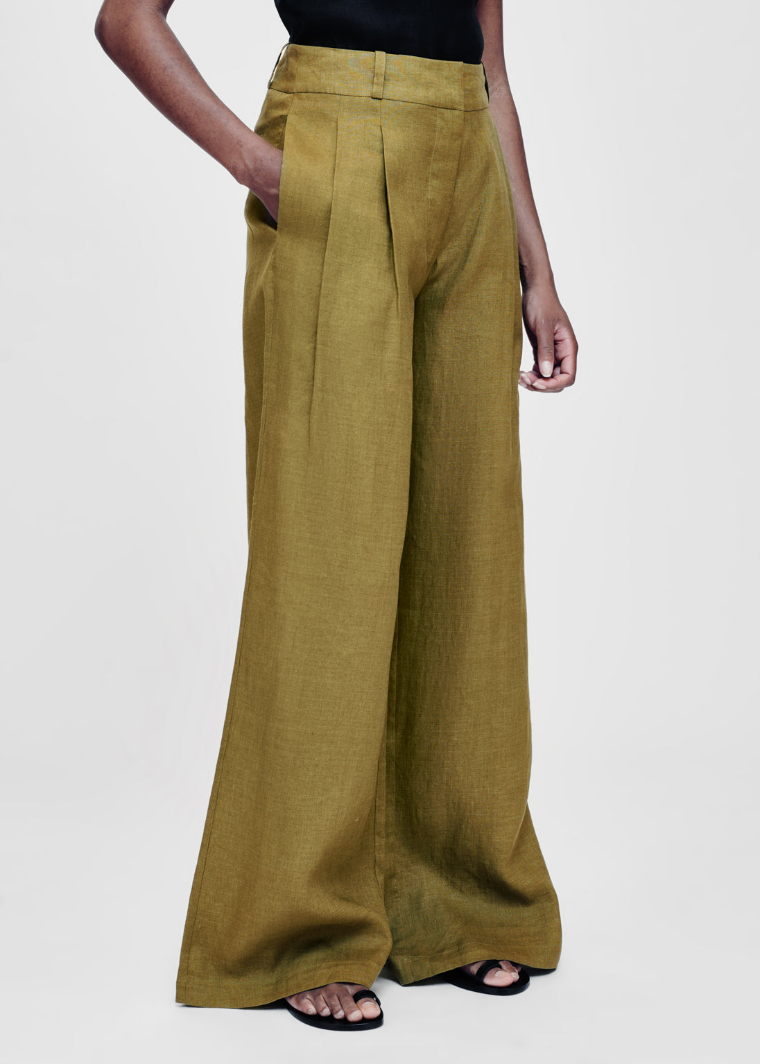 Asceno RIVELLO WARM OLIVE LINEN WIDE LEG TROUSER