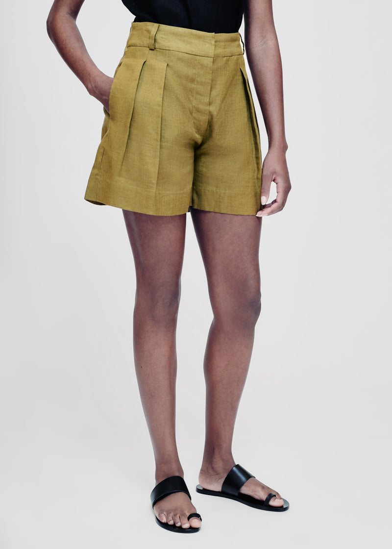 olive green linen shorts