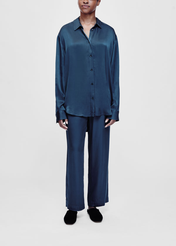Blue bamboo satin oversized shirt