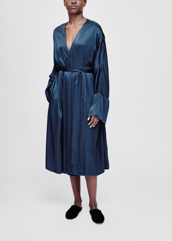 Blue bamboo satin robe