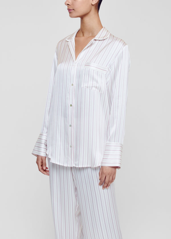Paris Rose Stripe Silk Oversized Pyjama Shirt