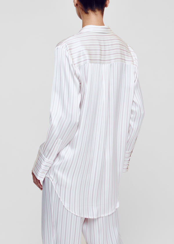 Pink and White Stripe Silk Oversized Pyjama Shirt