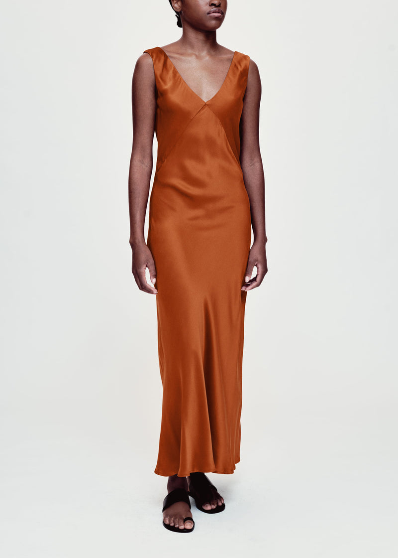 rust bias cut silk slip dress