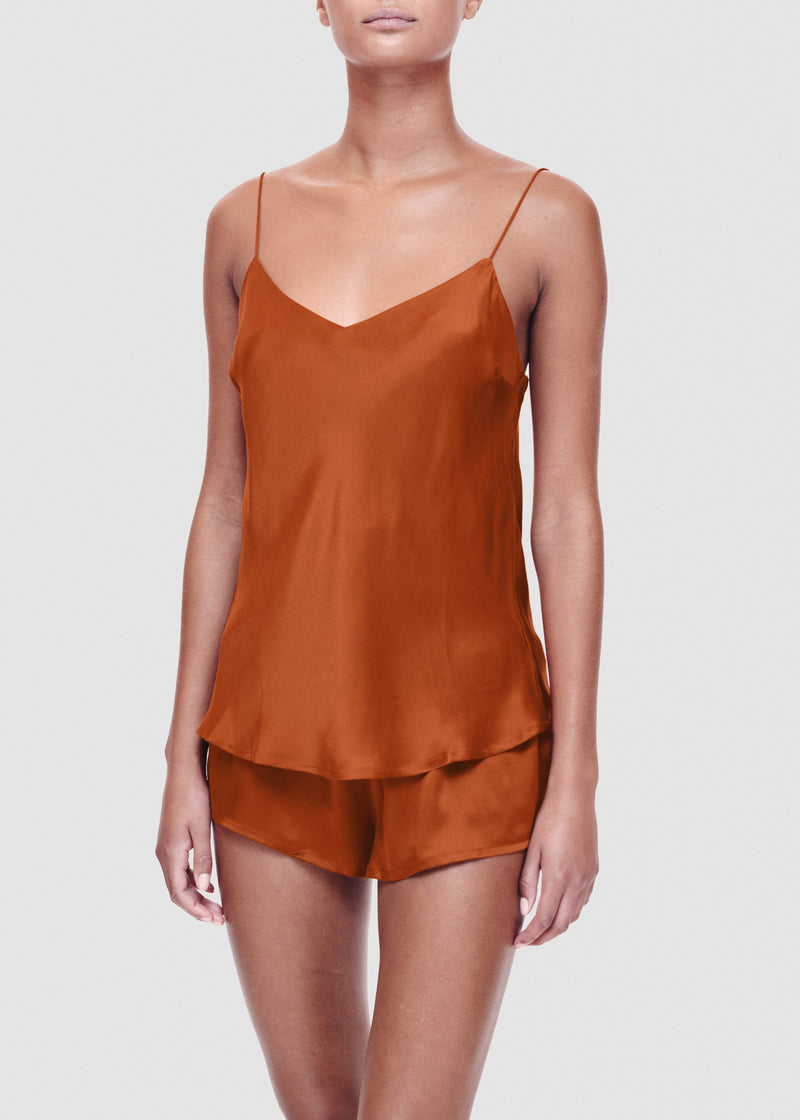Rust silk sleep shorts