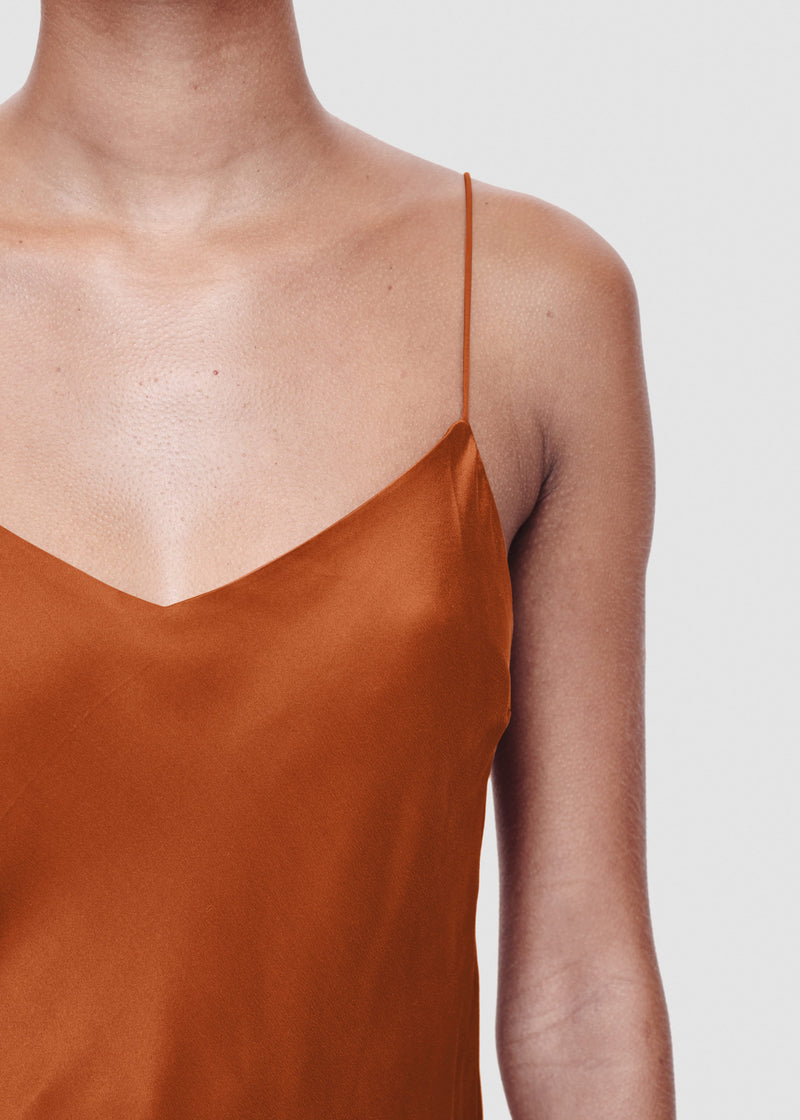 rust bias silk camisole