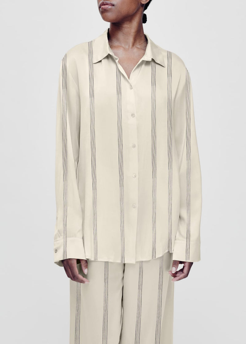 Cream striped silk pyjama shirt