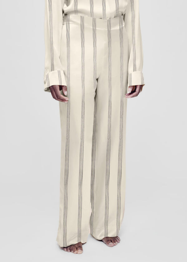 Cream striped silk pyjama bottom