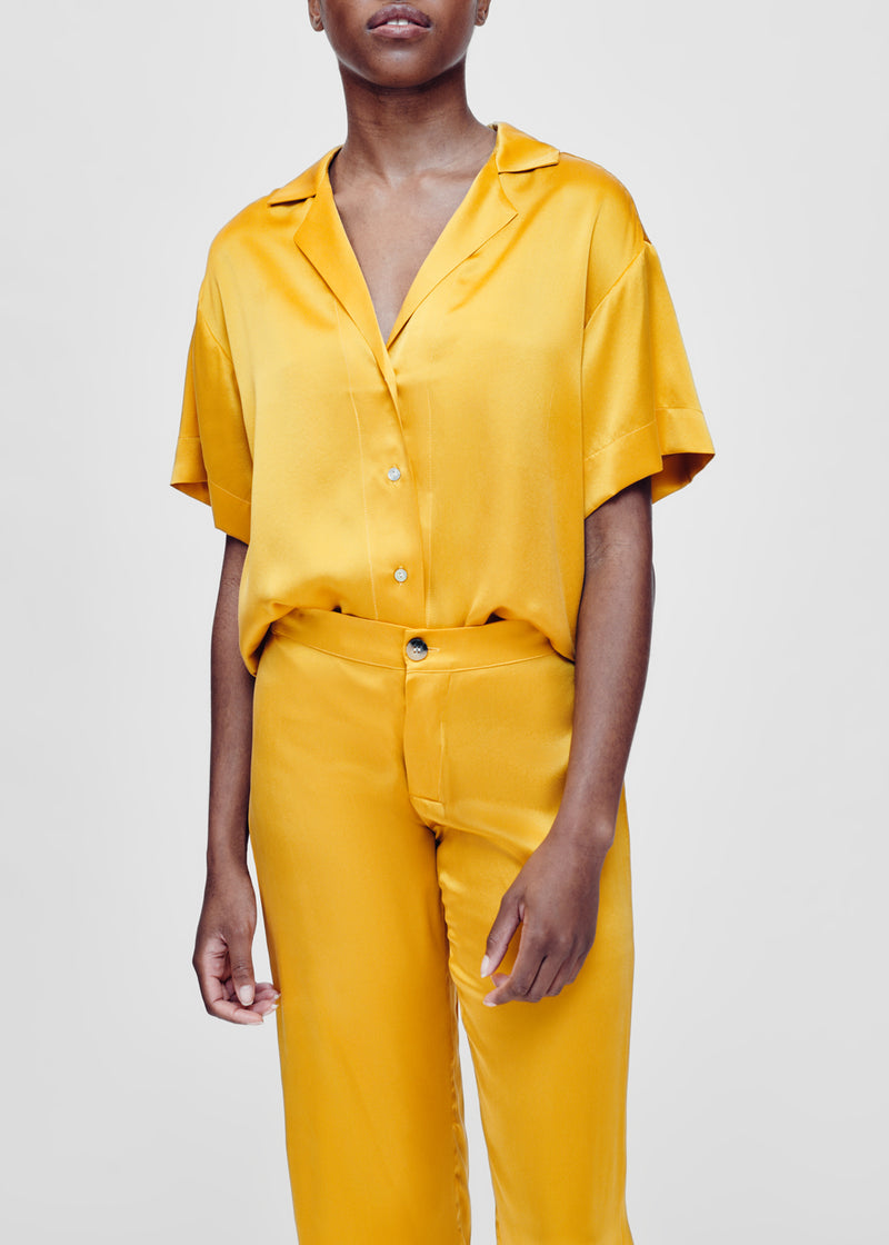 yellow silk short sleeve shirt