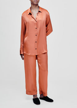 Milan terracotta bamboo silk oversized shirt