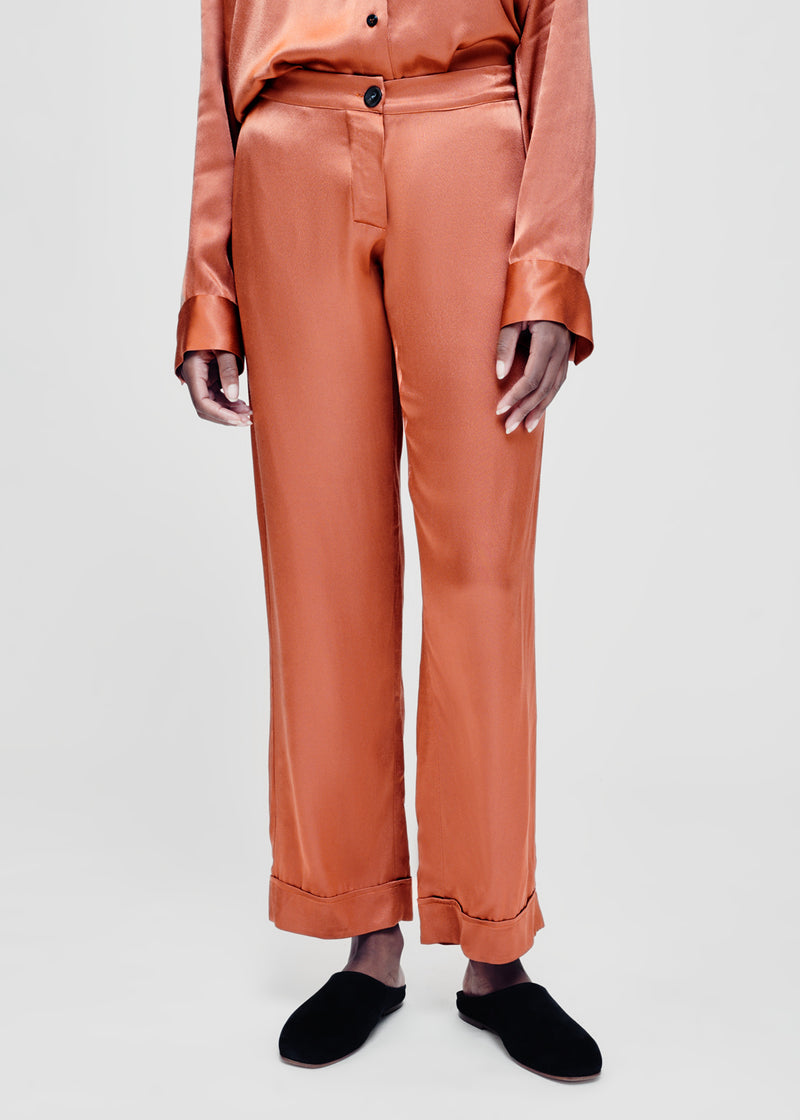Terracotta bamboo satin pyjama set