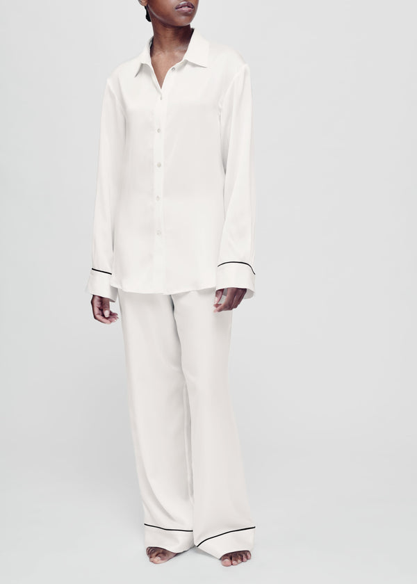 White with black piping silk pyjama set
