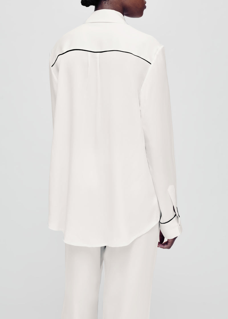 white with black piping silk pyjama shirt