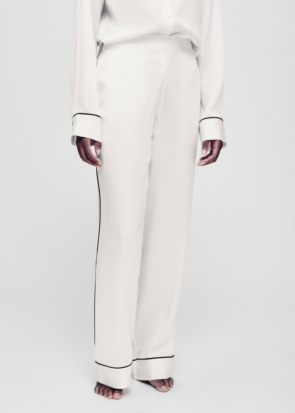 white with black piping silk pyjama bottom