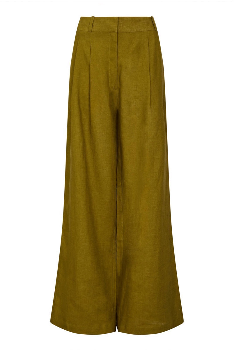Warm olive linen wide leg trouser