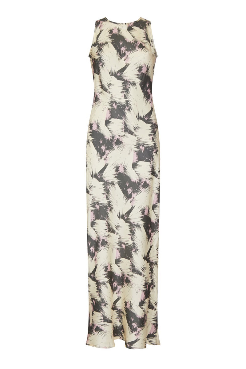 Cream printed silk slip dress