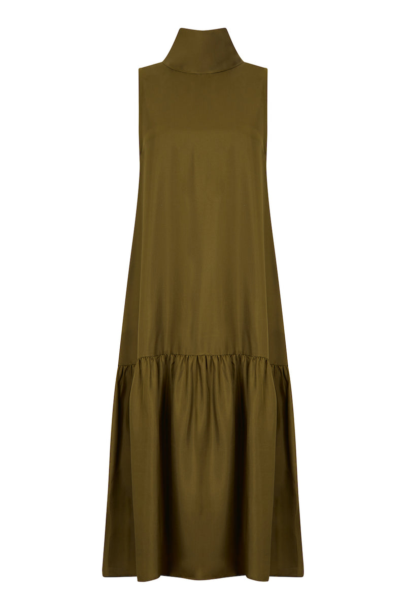 Olive green silk twill maxi high neck dress