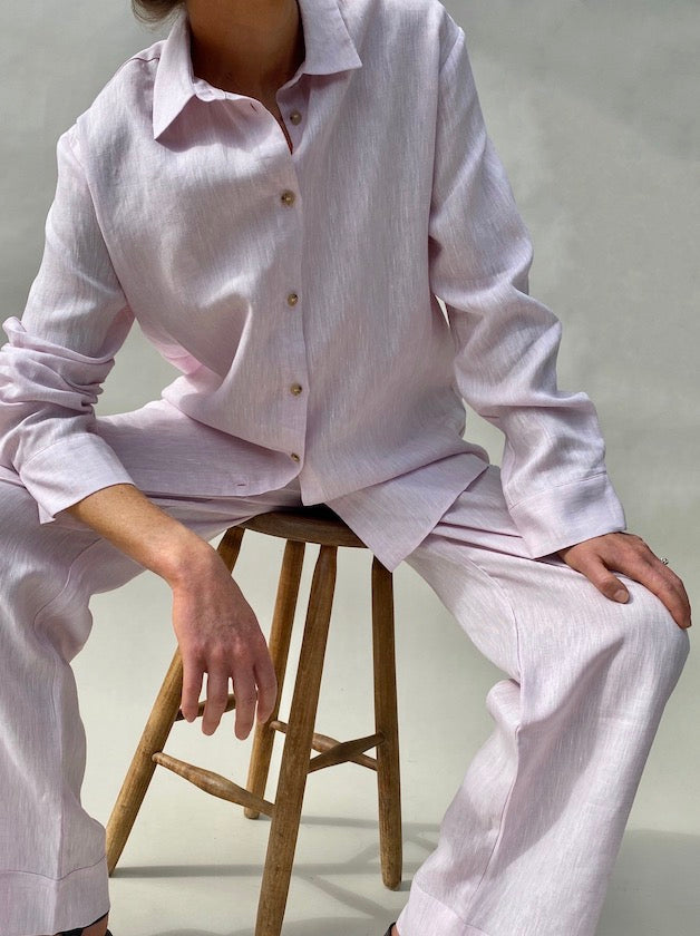 Light pink oversized linen shirt