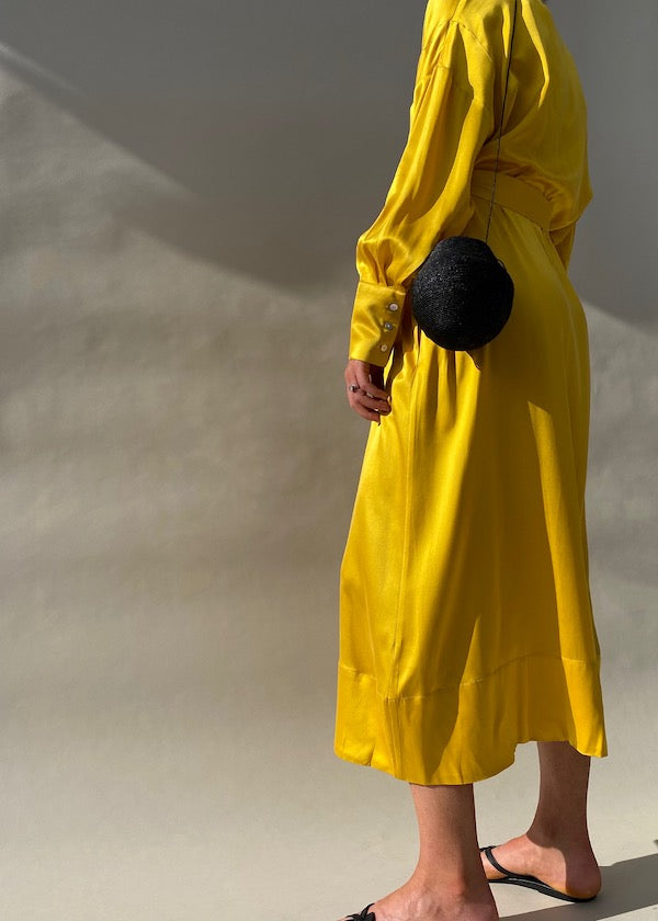 Yellow long maxi silk shirt dress with detachable silk belt tie