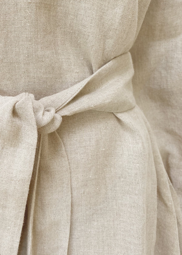 Natural Beige short linen dress with optional linen belt tie