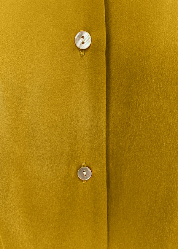 Yellow long maxi silk shirt dress