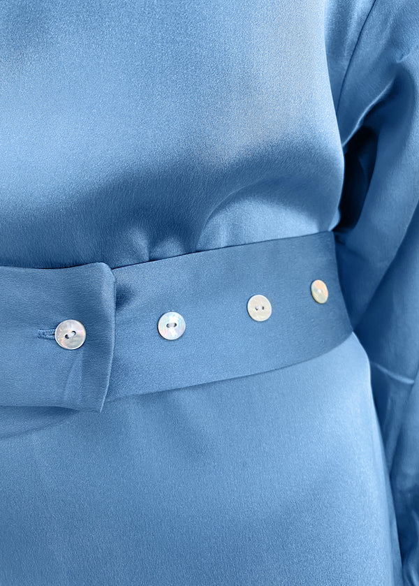 Light blue luxury silk maxi shirt dress with removable belt