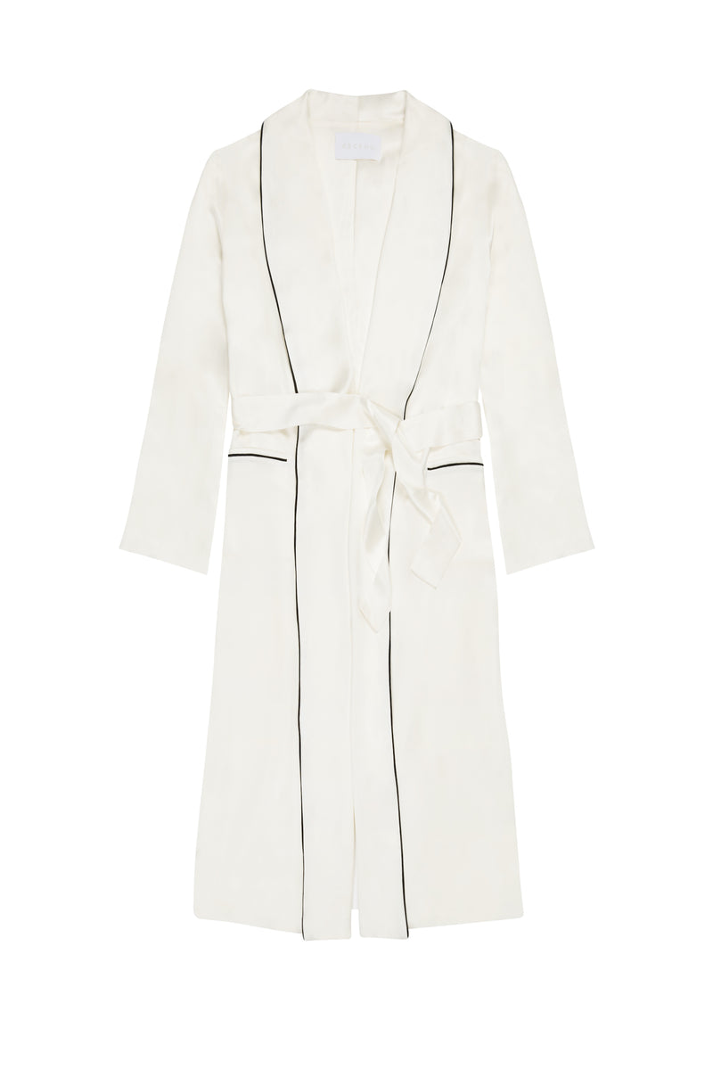 White with black piping silk robe