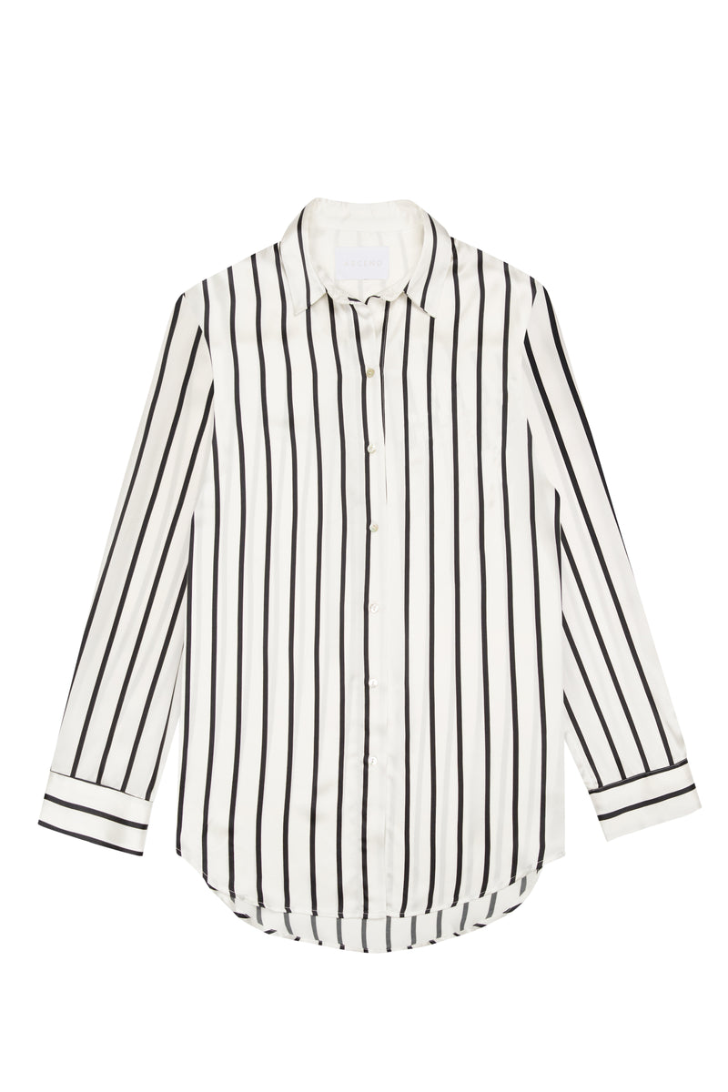 Black and white stripe silk pyjama shirt