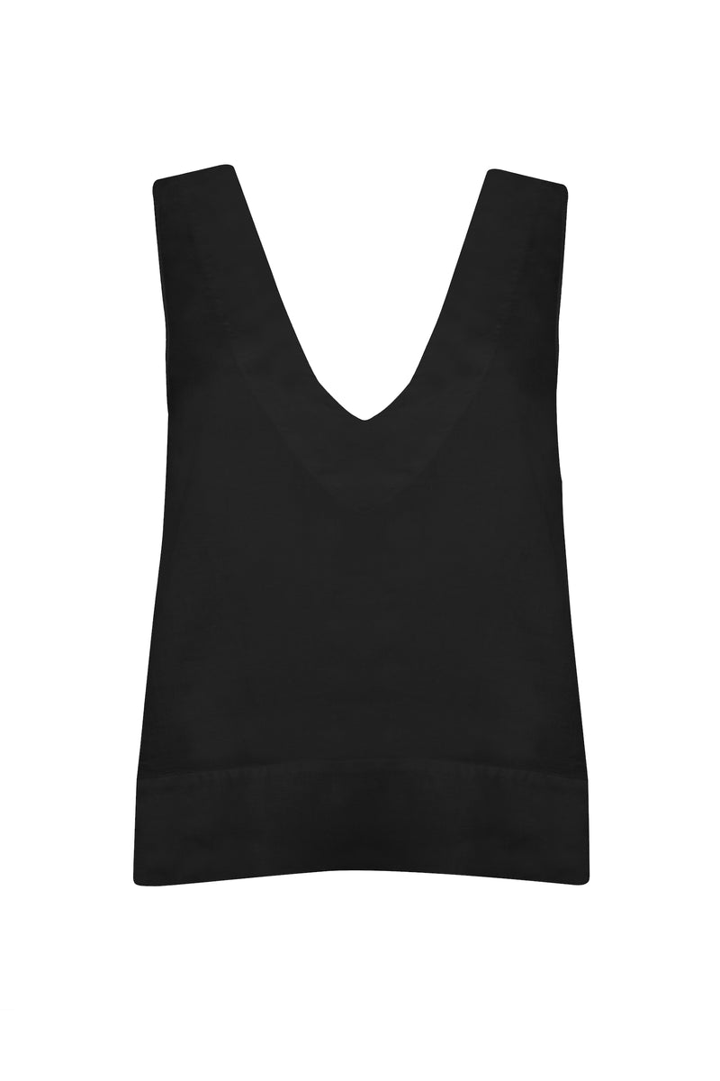 Black v-neck linen top