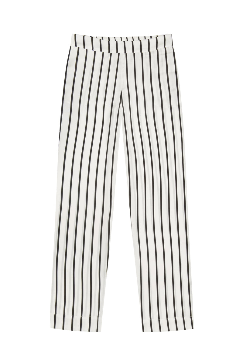 Black and white stripe silk pyjama bottom