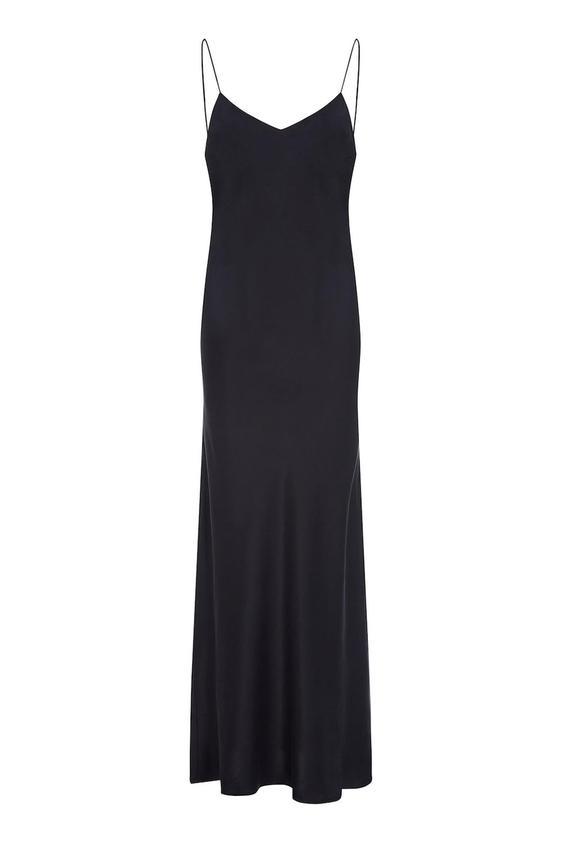 Black bias cut silk slip dress