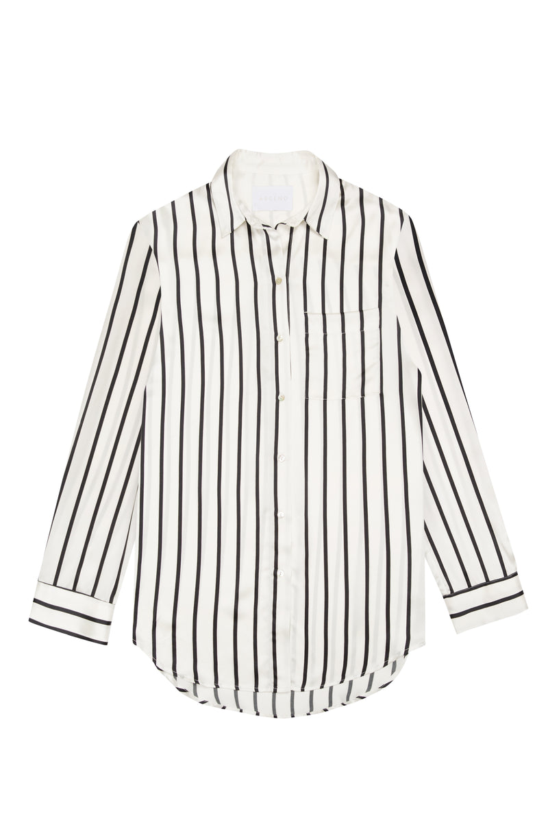 Black and white stripe oversized silk pyjama shirt