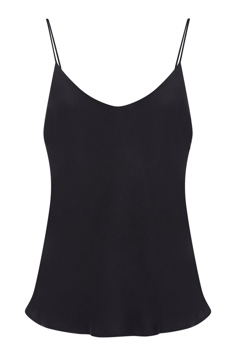 Black bias cut silk camisole
