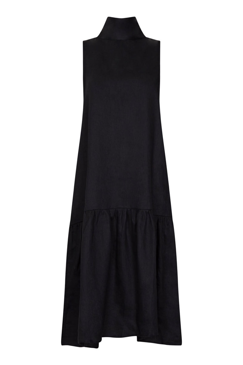 Black linen high neck tie dress