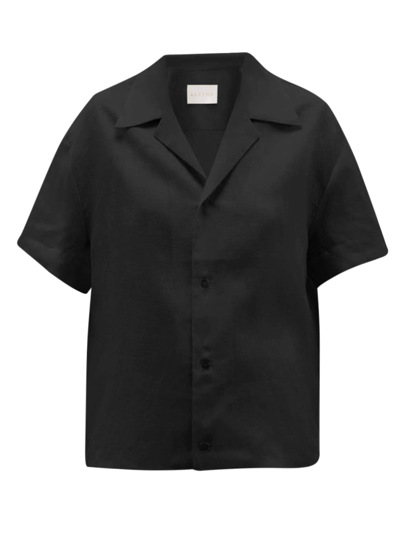 Black linen short sleeve shirt