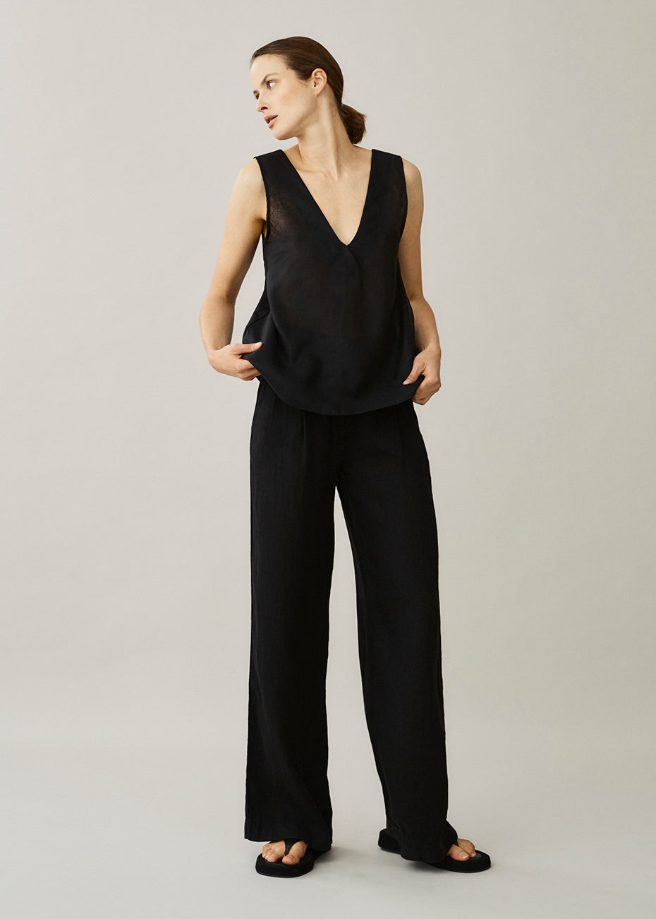 Lille Black Linen Top