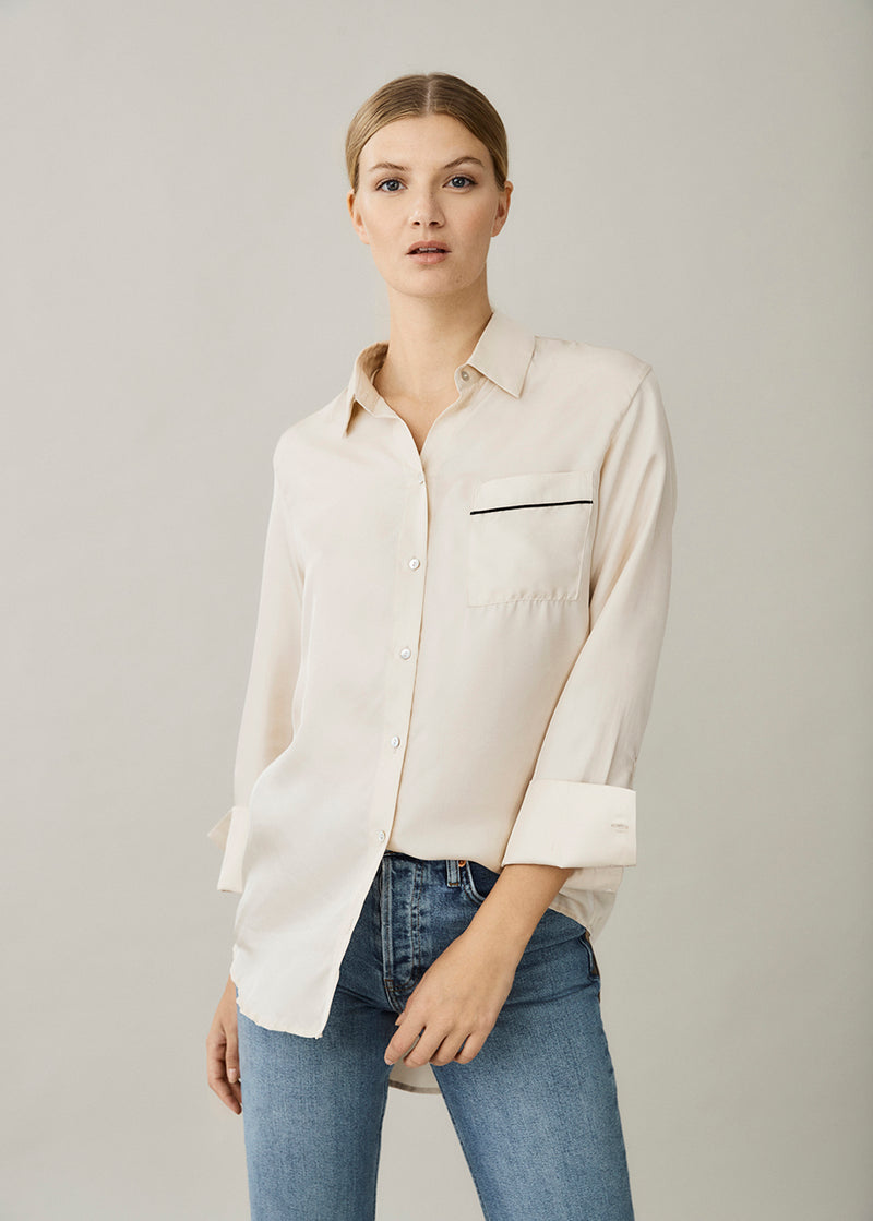 Milan Cream Silk Twill Oversized Pyjama Top